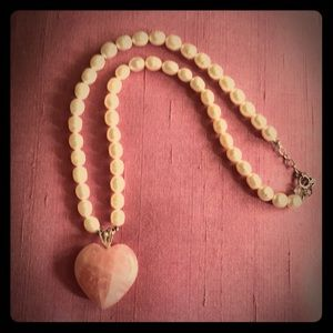 Lovely rose quartz HEART and seed pearl necklace